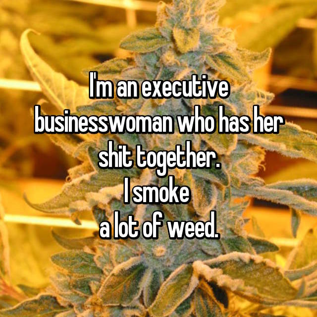 I'm an executive businesswoman who has her shit together. I smoke  a lot of weed.