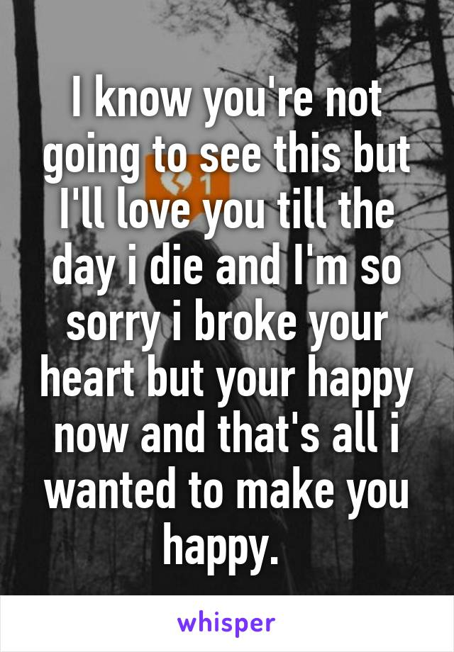 I know you're not going to see this but I'll love you till the day i die and I'm so sorry i broke your heart but your happy now and that's all i wanted to make you happy.