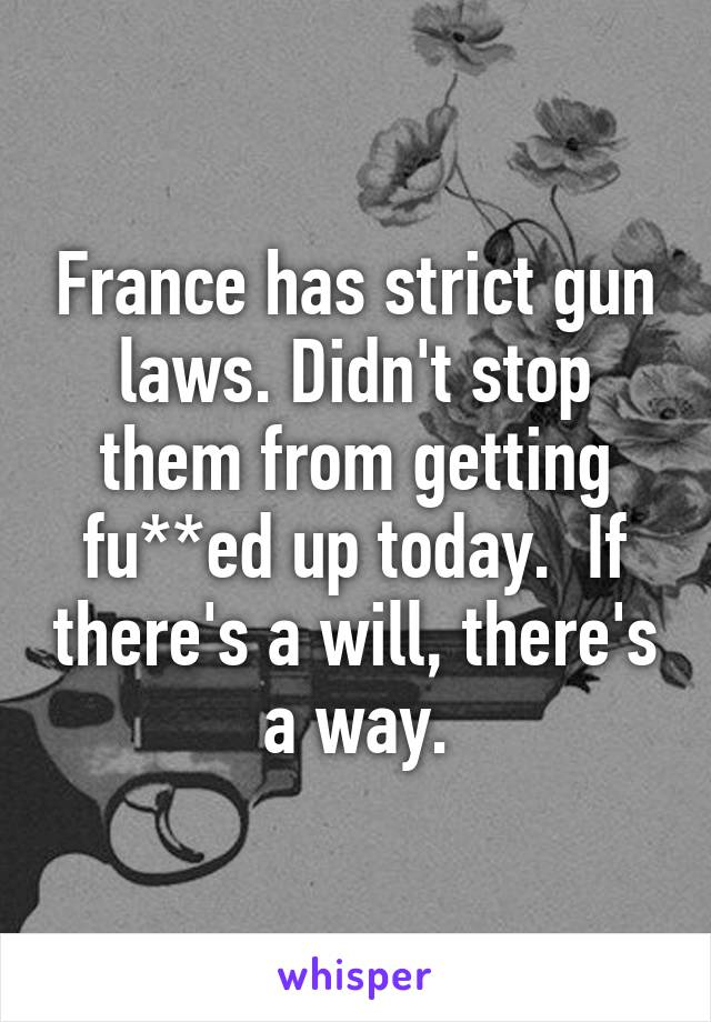 France has strict gun laws. Didn't stop them from getting fu**ed up today.  If there's a will, there's a way.