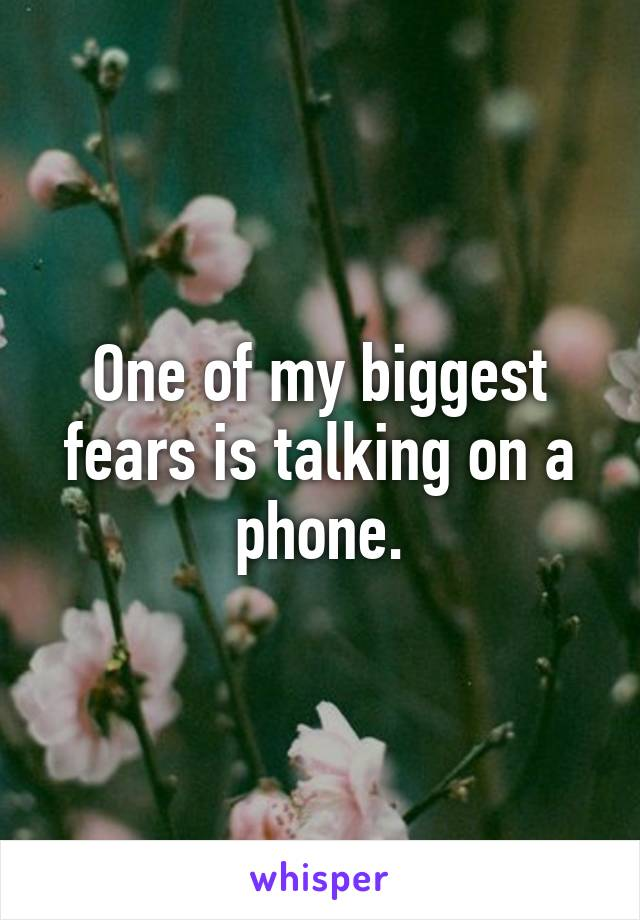 One of my biggest fears is talking on a phone.