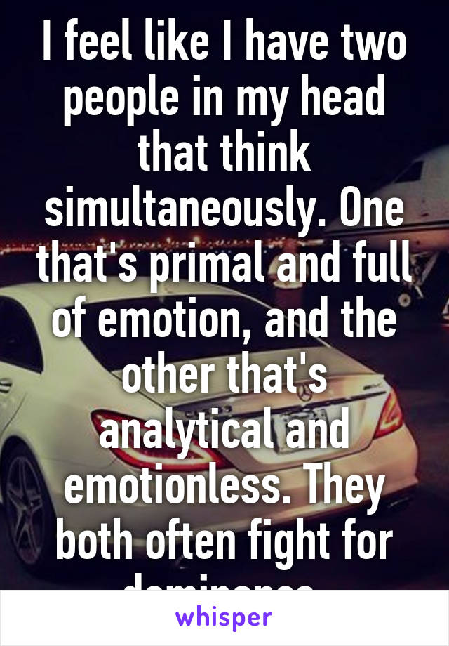 I feel like I have two people in my head that think simultaneously. One that's primal and full of emotion, and the other that's analytical and emotionless. They both often fight for dominance.