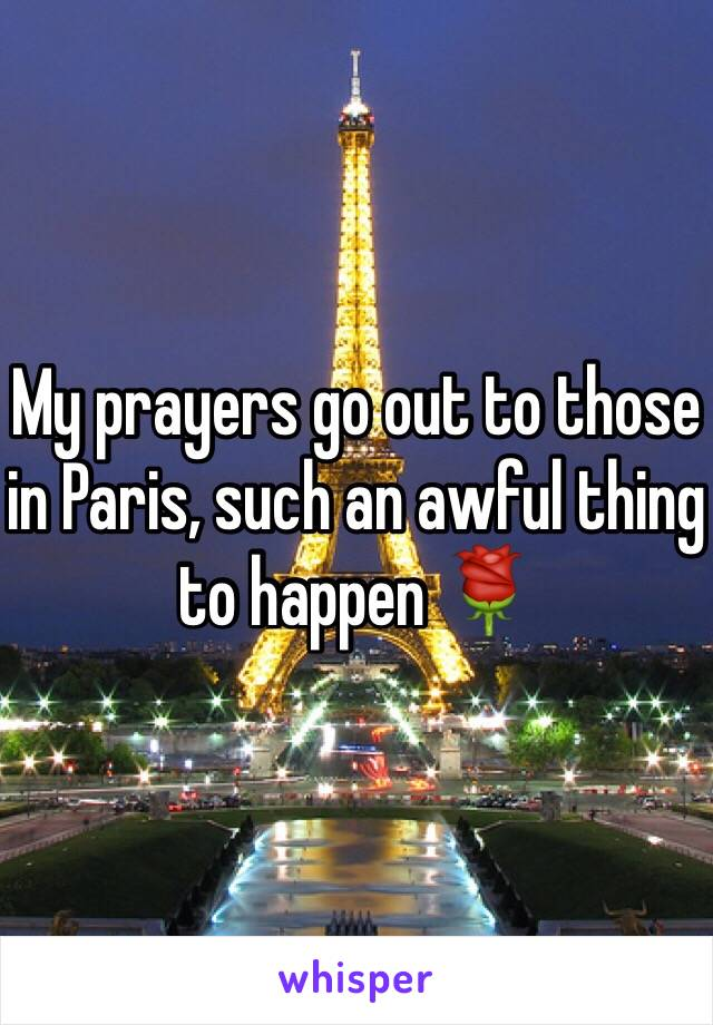 My prayers go out to those in Paris, such an awful thing to happen 🌹