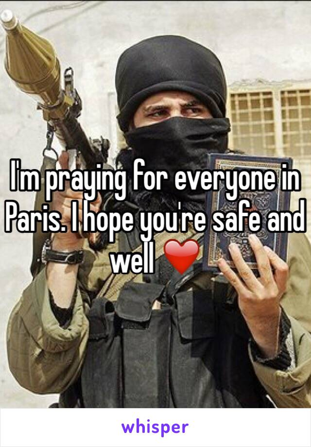I'm praying for everyone in Paris. I hope you're safe and well ❤️