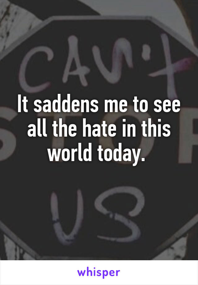 It saddens me to see all the hate in this world today.