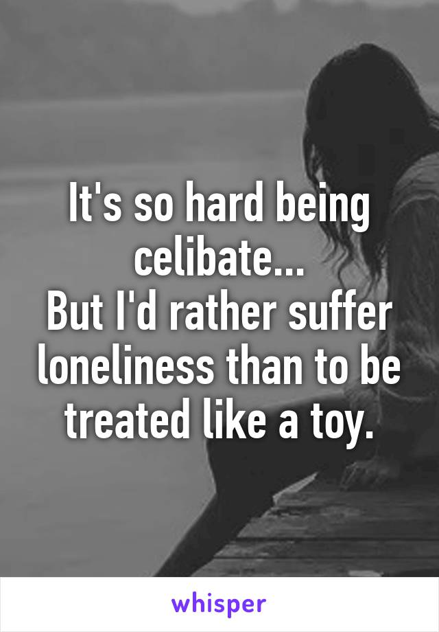 It's so hard being celibate... But I'd rather suffer loneliness than to be treated like a toy.