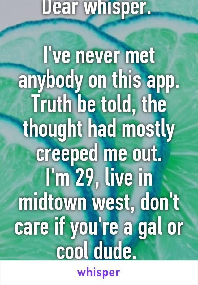 Dear whisper.   I've never met anybody on this app. Truth be told, the thought had mostly creeped me out. I'm 29, live in midtown west, don't care if you're a gal or cool dude.  Drink maybe?