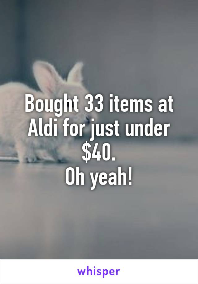 Bought 33 items at Aldi for just under $40. Oh yeah!