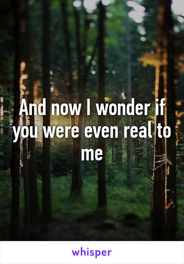 And now I wonder if you were even real to me
