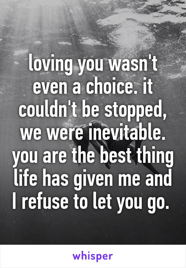 loving you wasn't even a choice. it couldn't be stopped, we were inevitable. you are the best thing life has given me and I refuse to let you go.