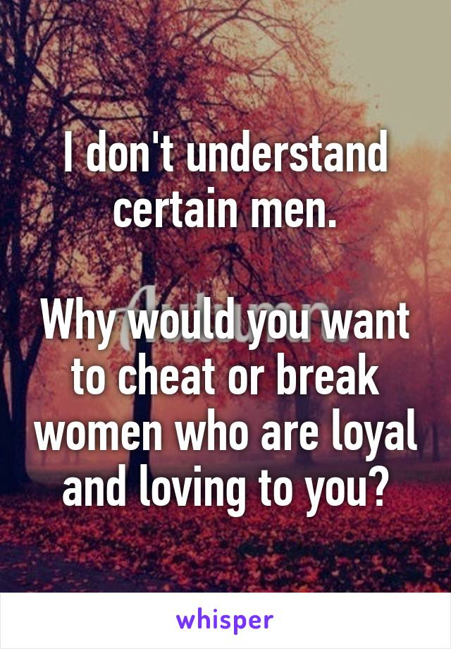 I don't understand certain men.  Why would you want to cheat or break women who are loyal and loving to you?