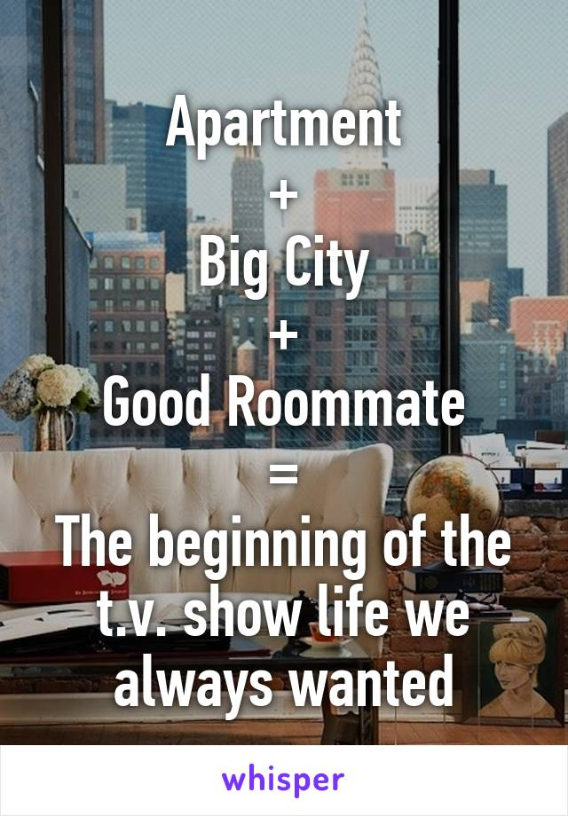 Apartment + Big City + Good Roommate = The beginning of the t.v. show life we always wanted