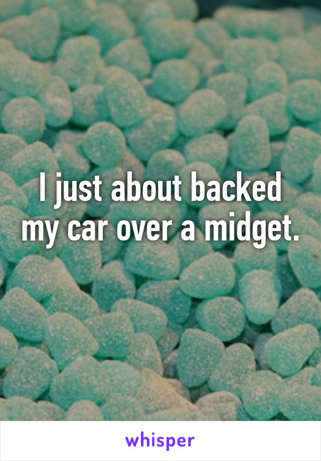 I just about backed my car over a midget.