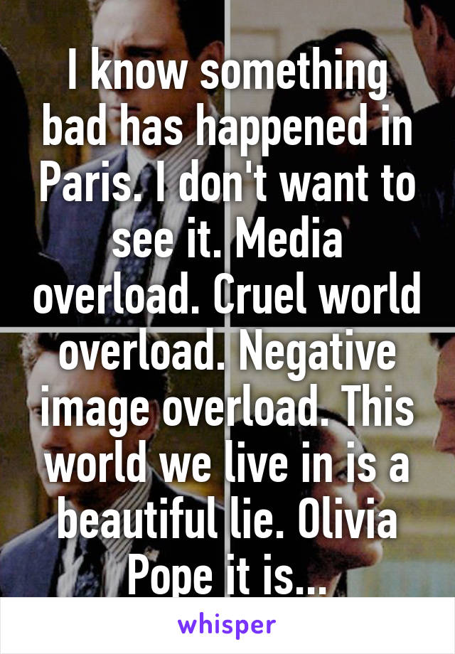 I know something bad has happened in Paris. I don't want to see it. Media overload. Cruel world overload. Negative image overload. This world we live in is a beautiful lie. Olivia Pope it is...
