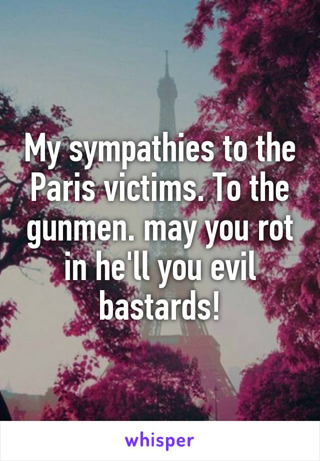 My sympathies to the Paris victims. To the gunmen. may you rot in he'll you evil bastards!