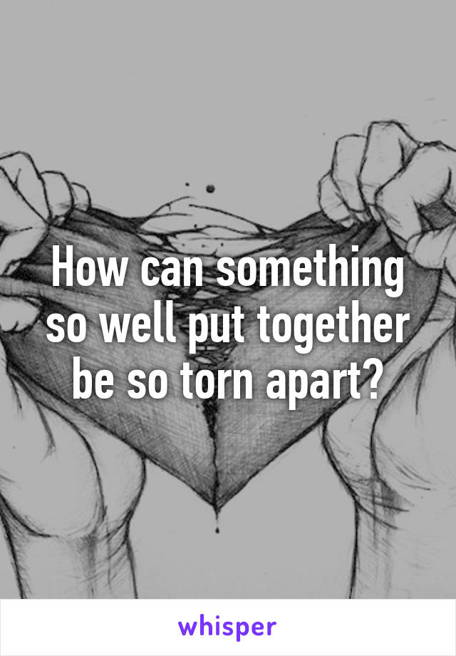 How can something so well put together be so torn apart?
