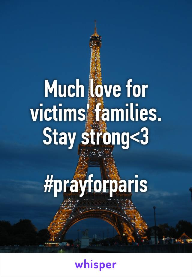 Much love for victims' families. Stay strong<3  #prayforparis
