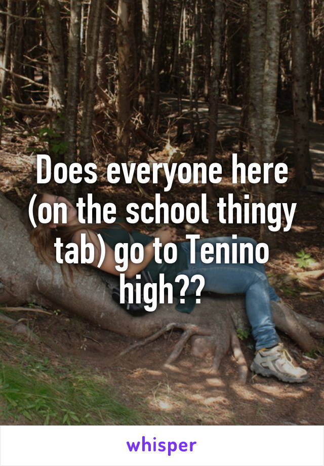 Does everyone here (on the school thingy tab) go to Tenino high??