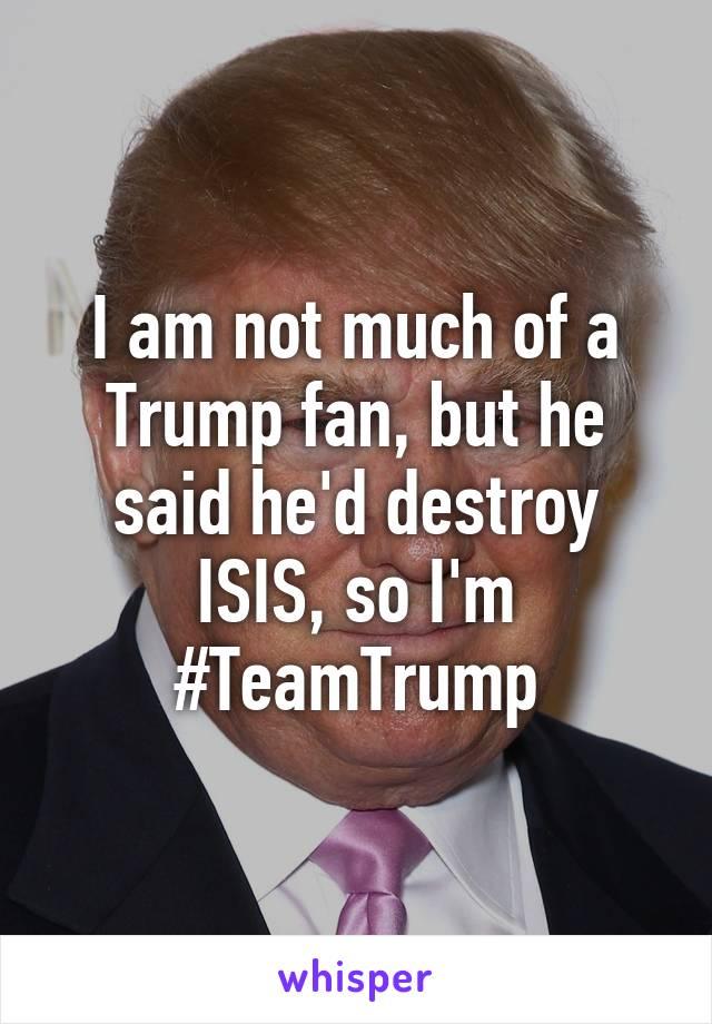 I am not much of a Trump fan, but he said he'd destroy ISIS, so I'm #TeamTrump