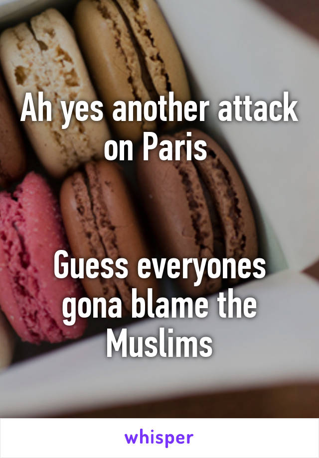 Ah yes another attack on Paris    Guess everyones gona blame the Muslims