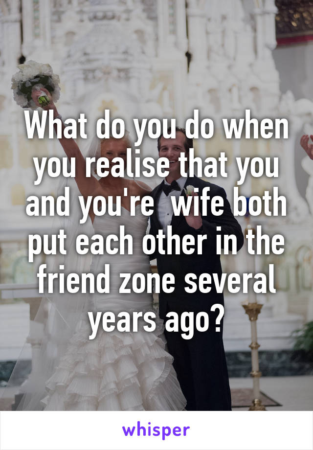 What do you do when you realise that you and you're  wife both put each other in the friend zone several years ago?