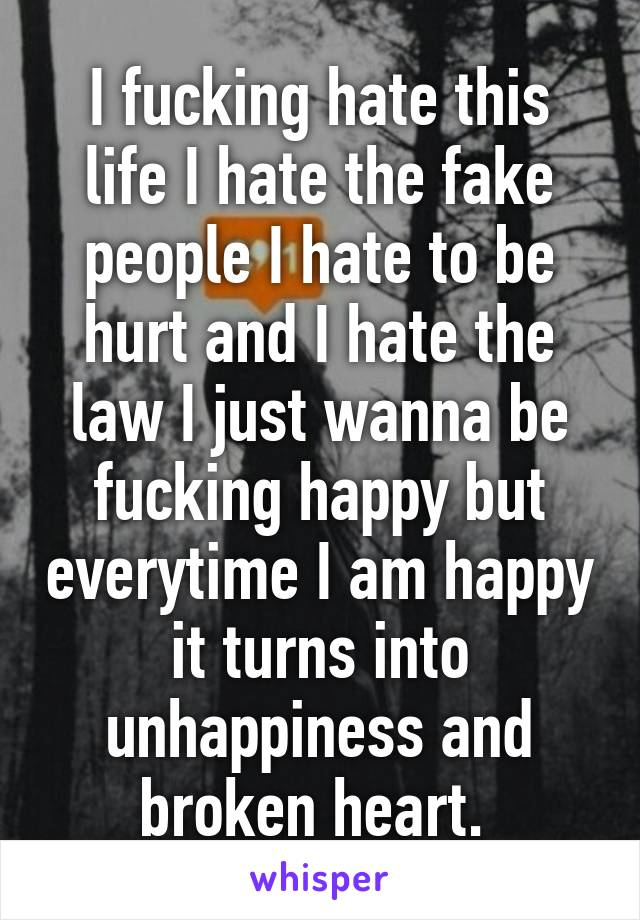 I fucking hate this life I hate the fake people I hate to be hurt and I hate the law I just wanna be fucking happy but everytime I am happy it turns into unhappiness and broken heart.