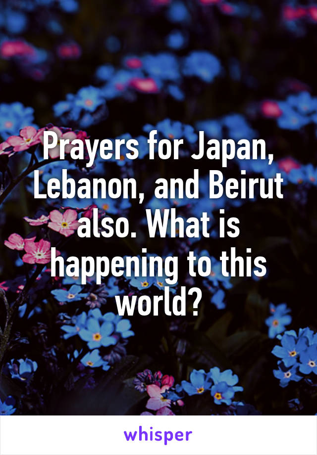 Prayers for Japan, Lebanon, and Beirut also. What is happening to this world?