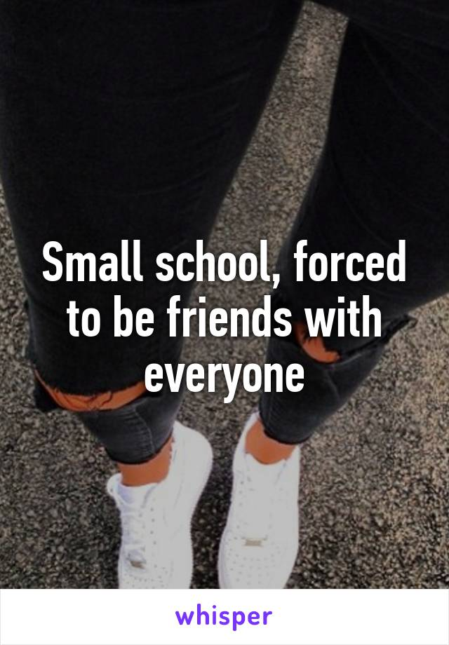 Small school, forced to be friends with everyone