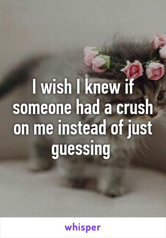 I wish I knew if someone had a crush on me instead of just guessing