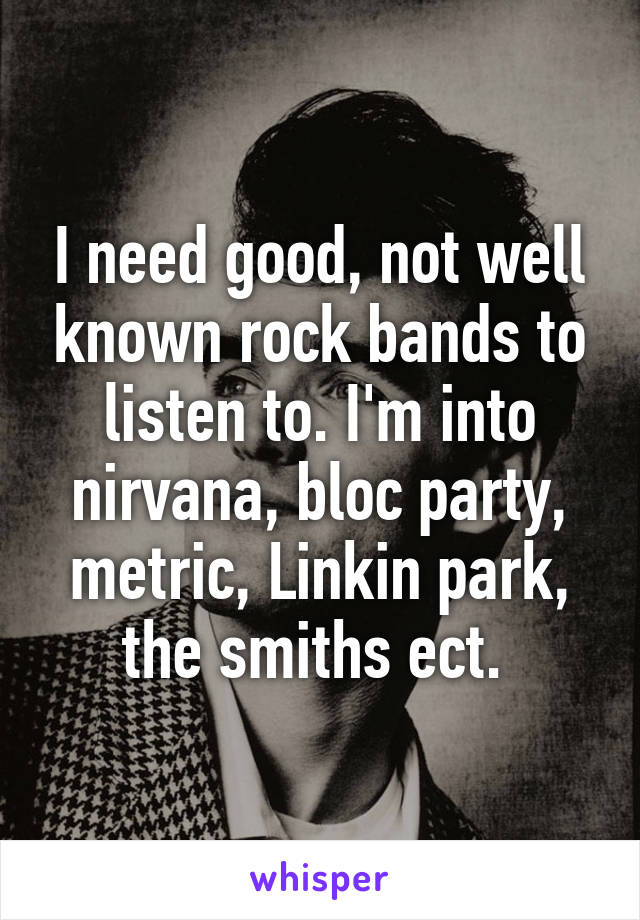 I need good, not well known rock bands to listen to. I'm into nirvana, bloc party, metric, Linkin park, the smiths ect.