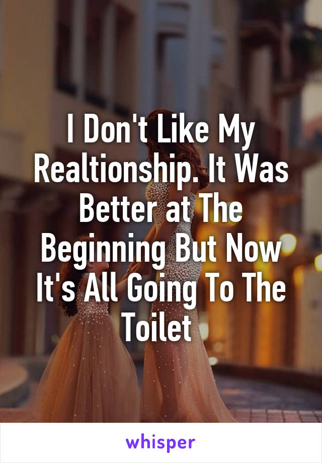 I Don't Like My Realtionship. It Was Better at The Beginning But Now It's All Going To The Toilet