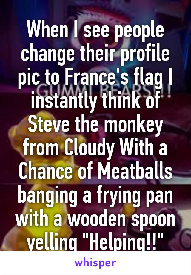 "When I see people change their profile pic to France's flag I instantly think of Steve the monkey from Cloudy With a Chance of Meatballs banging a frying pan with a wooden spoon yelling ""Helping!!"""