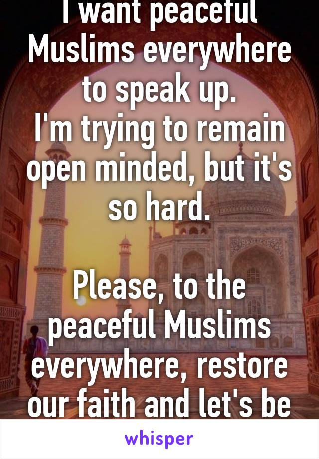 I want peaceful Muslims everywhere to speak up. I'm trying to remain open minded, but it's so hard.  Please, to the peaceful Muslims everywhere, restore our faith and let's be one!
