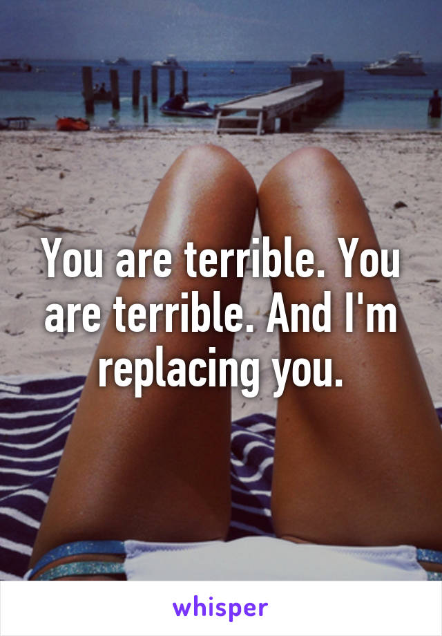 You are terrible. You are terrible. And I'm replacing you.