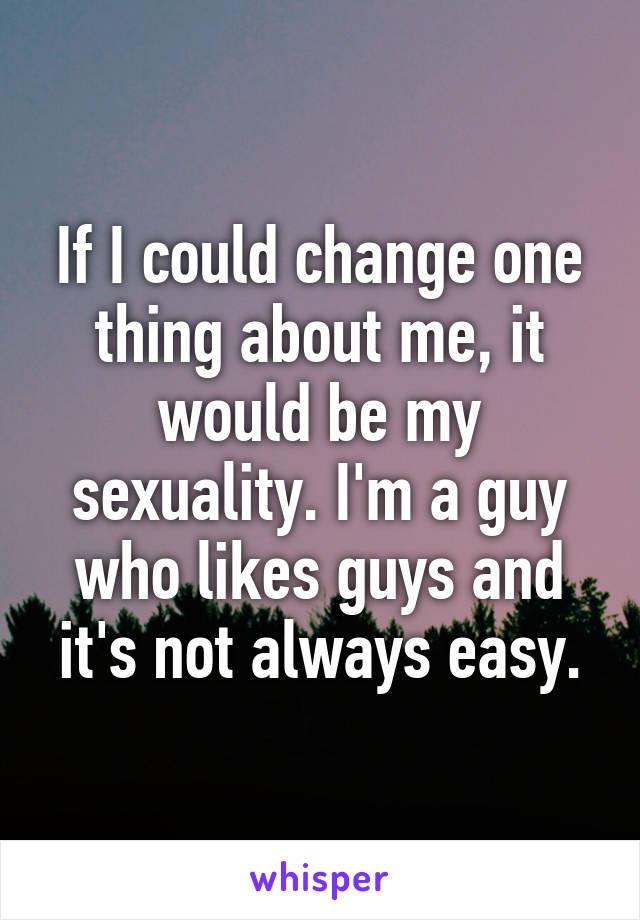 If I could change one thing about me, it would be my sexuality. I'm a guy who likes guys and it's not always easy.