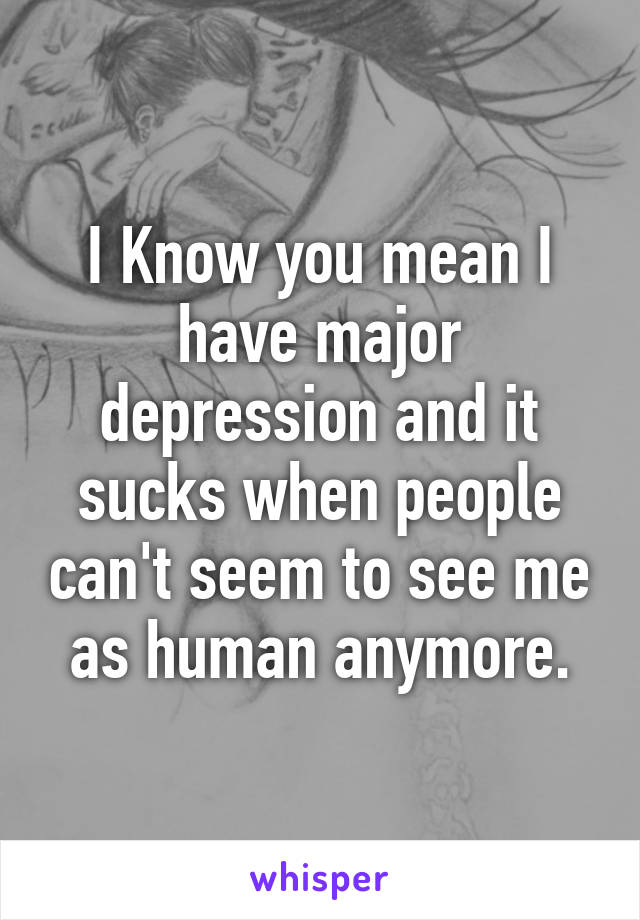 I Know you mean I have major depression and it sucks when people can't seem to see me as human anymore.