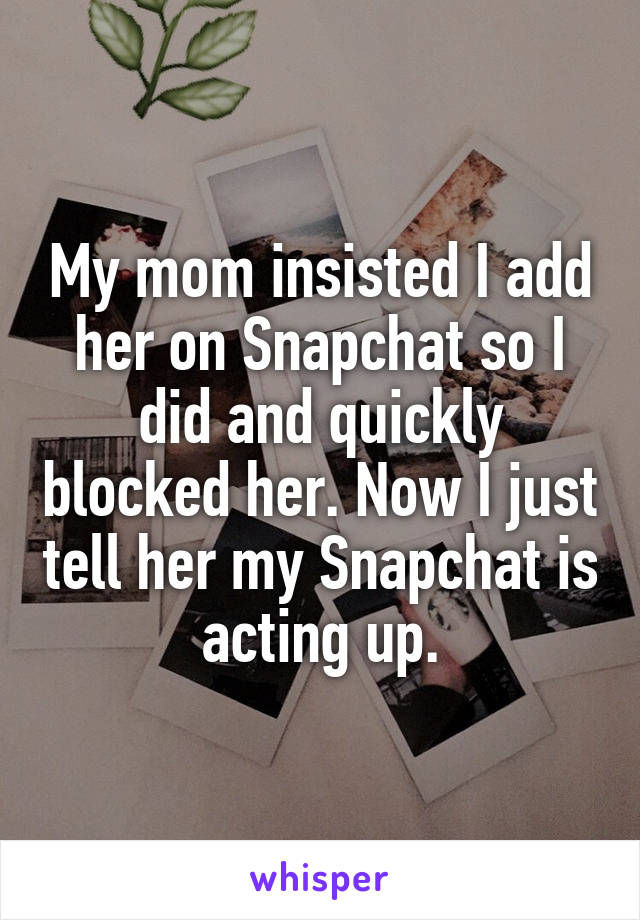 My mom insisted I add her on Snapchat so I did and quickly blocked her. Now I just tell her my Snapchat is acting up.
