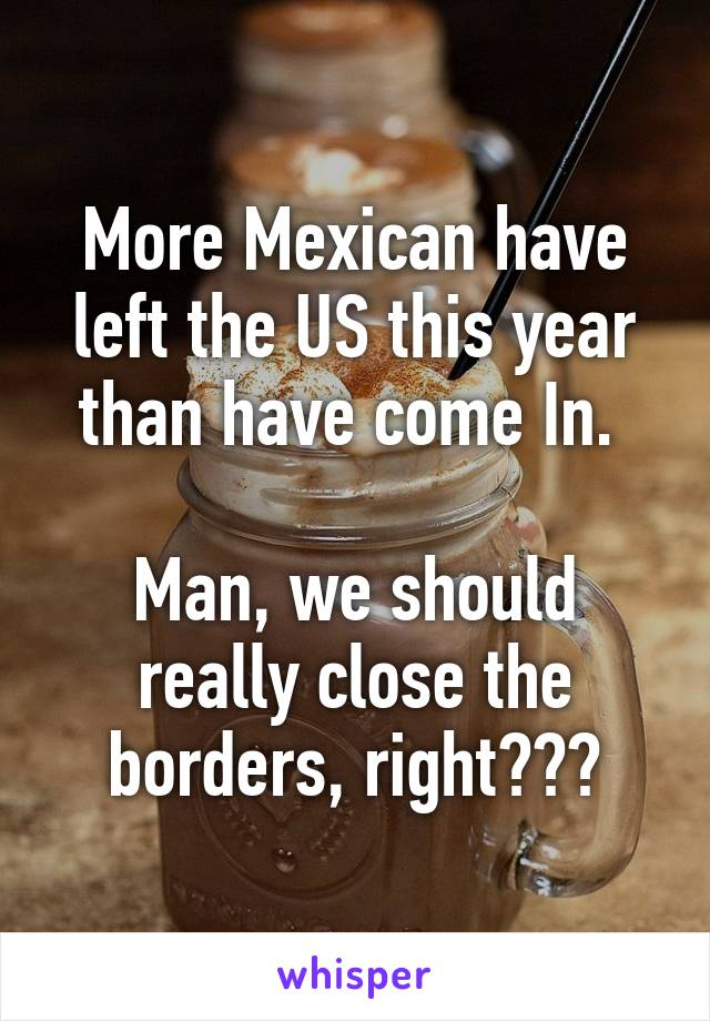 More Mexican have left the US this year than have come In.   Man, we should really close the borders, right???