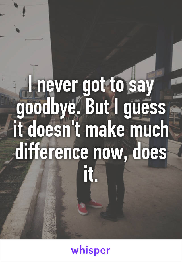 I never got to say goodbye. But I guess it doesn't make much difference now, does it.