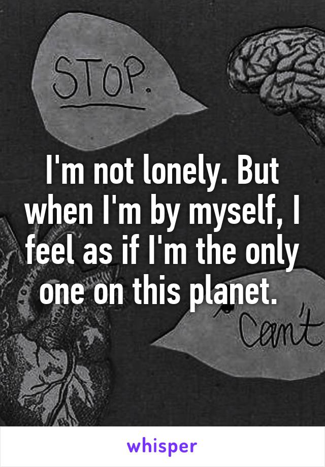 I'm not lonely. But when I'm by myself, I feel as if I'm the only one on this planet.