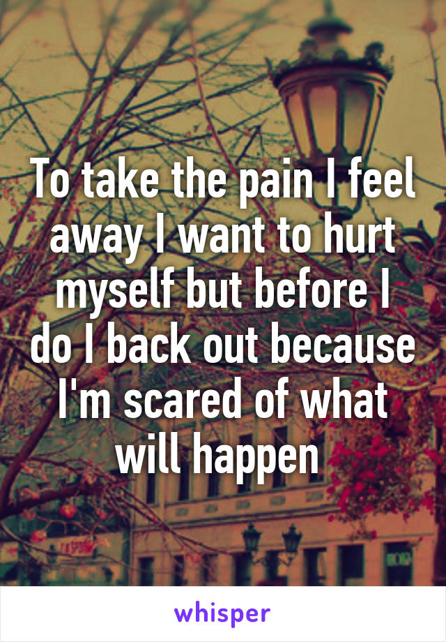To take the pain I feel away I want to hurt myself but before I do I back out because I'm scared of what will happen