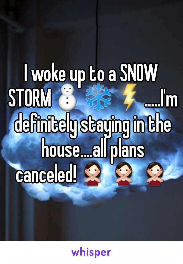 I woke up to a SNOW STORM⛄❄⚡.....I'm definitely staying in the house....all plans canceled!🙅🙅🙅