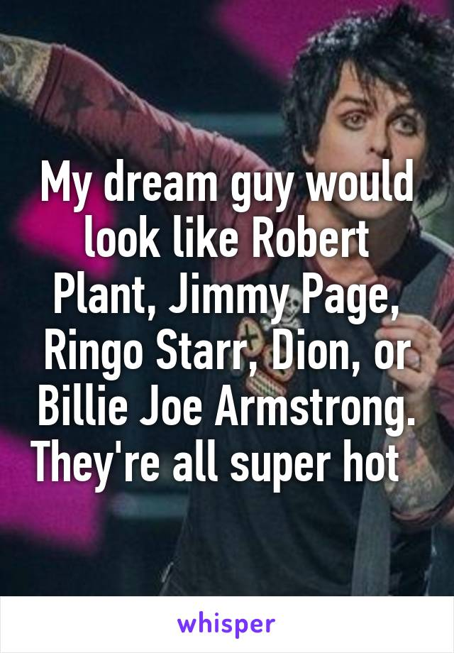 My dream guy would look like Robert Plant, Jimmy Page, Ringo Starr, Dion, or Billie Joe Armstrong. They're all super hot