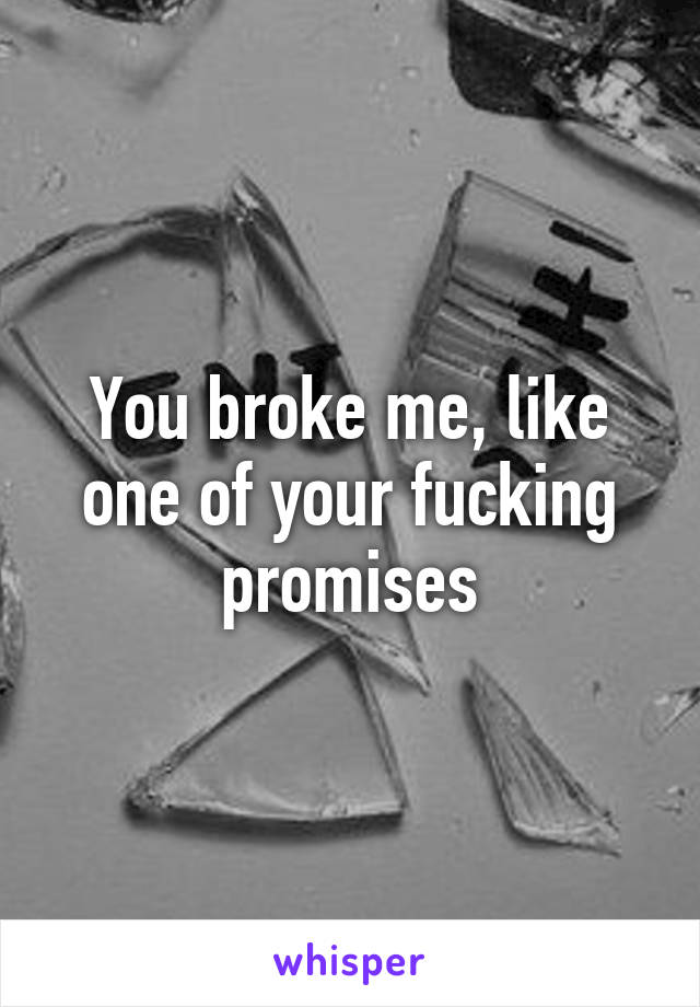 You broke me, like one of your fucking promises