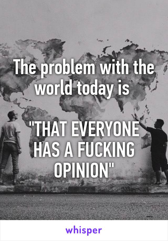 """The problem with the world today is   """"THAT EVERYONE HAS A FUCKING OPINION"""""""