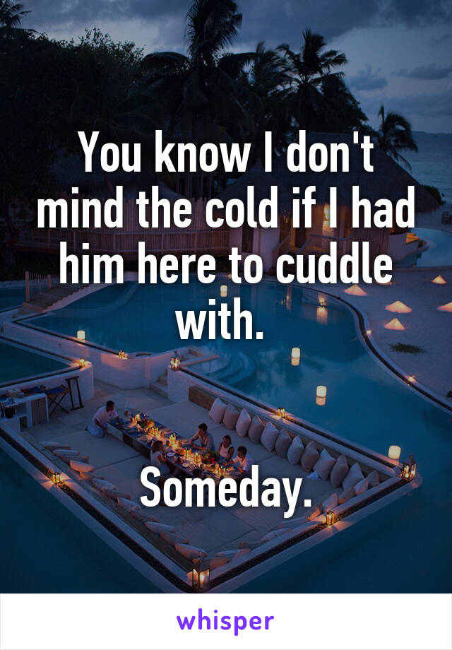You know I don't mind the cold if I had him here to cuddle with.    Someday.
