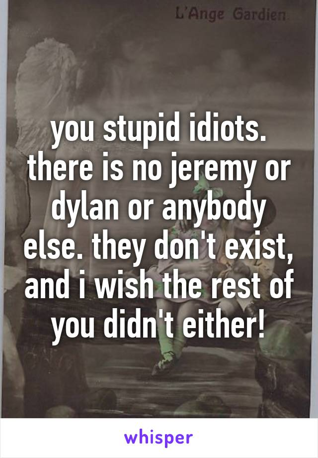 you stupid idiots. there is no jeremy or dylan or anybody else. they don't exist, and i wish the rest of you didn't either!