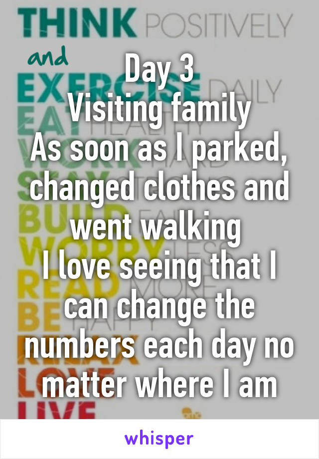 Day 3 Visiting family As soon as I parked, changed clothes and went walking  I love seeing that I can change the numbers each day no matter where I am