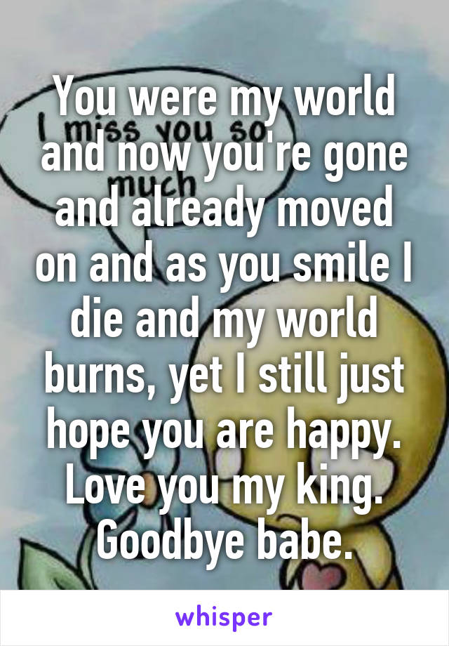 You were my world and now you're gone and already moved on and as you smile I die and my world burns, yet I still just hope you are happy. Love you my king. Goodbye babe.
