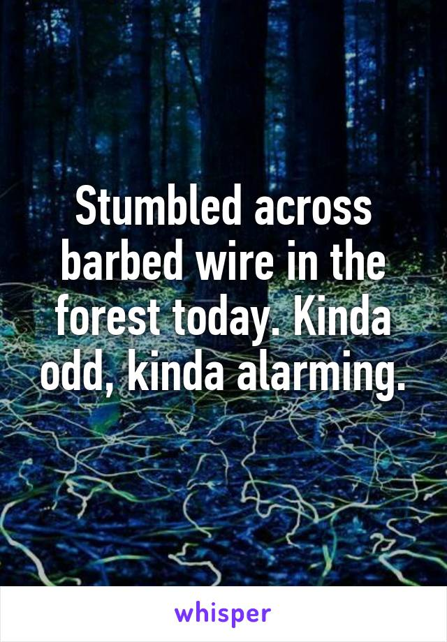 Stumbled across barbed wire in the forest today. Kinda odd, kinda alarming.