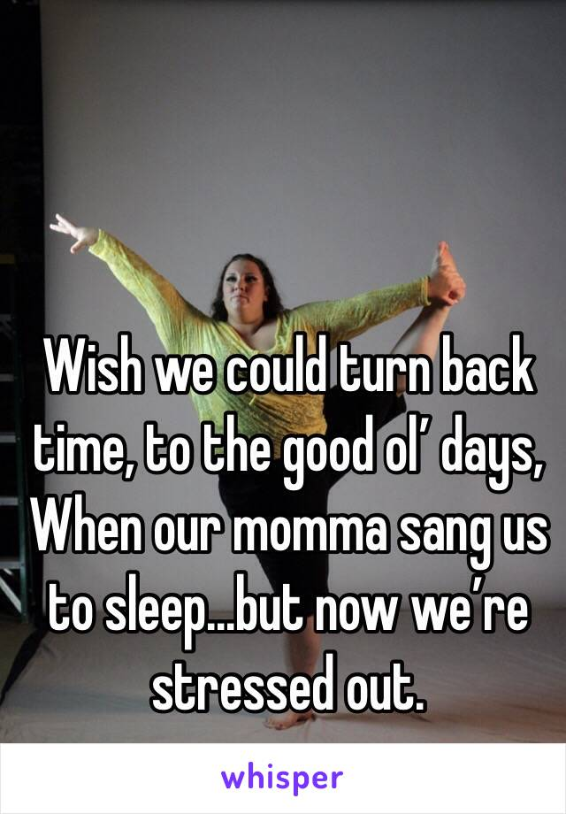 Wish we could turn back time, to the good ol' days, When our momma sang us to sleep...but now we're stressed out.